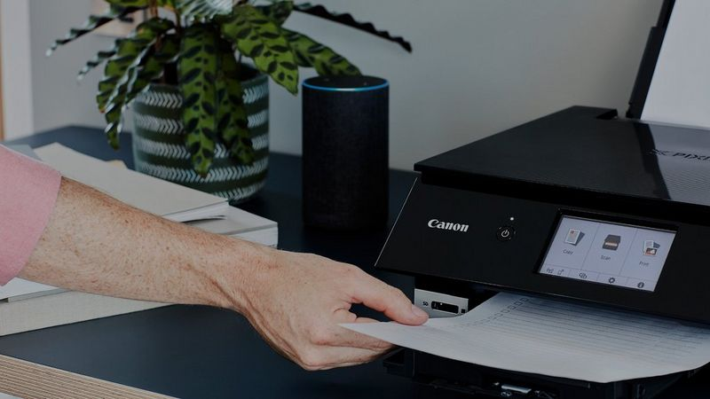 A user takes hold of a printout as it emerges from a black Canon PIXMA TS8250 printer, which sits on a tabletop with an Amazon Echo smart speaker next to it.